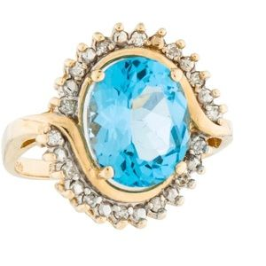 14K Topaz & Diamond Ring